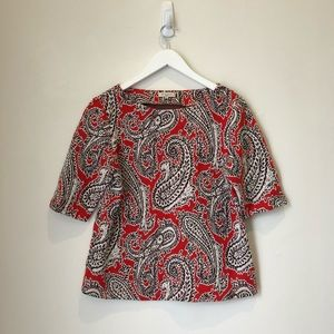 Etro Red and Black Paisley Print Top Sz 46